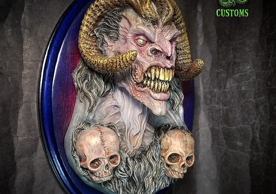 Cthulhugizzard Customs Celebrates The Spirit of Mischief With This Fully Finished Krampus Wall Relief